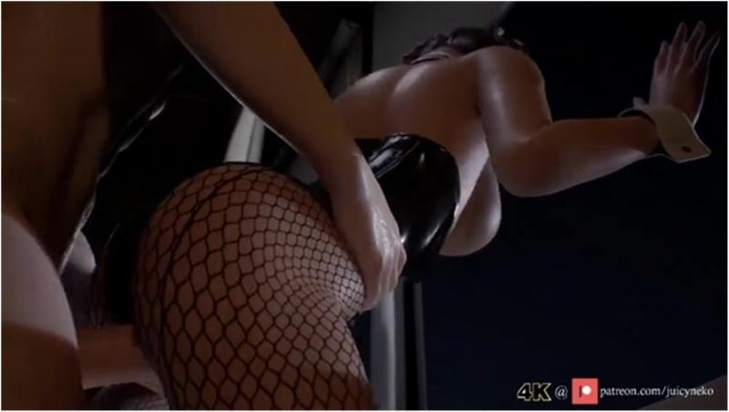 Tifa against window - Juicyneko
