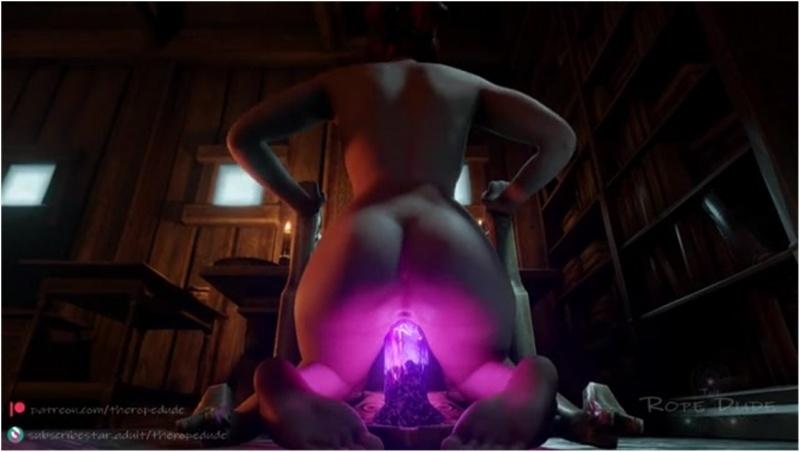 Triss Merigold masturbating on a crystal dildo