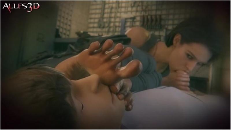 Jill Valentine blowjob foot sniffing